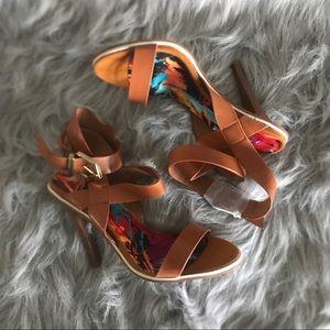 Women's Tan Open Toe Strap Heels